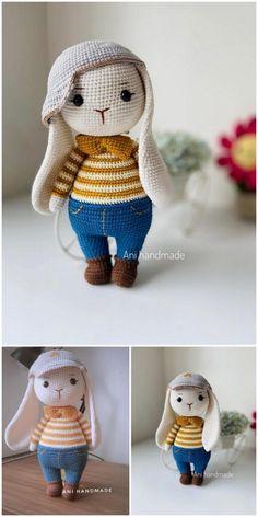 Crochet Animal Amigurumi, Crochet Bunny, Crochet For Kids, Amigurumi Doll, Crochet Animals, Free Crochet, Rabbit Toys, Bunny Toys, Bunny Plush