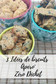 Biscuits Apréro - Zéro Déchet - Graines de courge - Olive - Pignons de Pin Zero Waste, Cereal, Biscuits, Homemade, Breakfast, Blogging, French, Lifestyle, Food