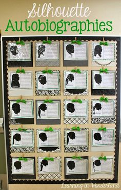 Silhouette Autobiographies and Read Across America Student autobiographies.love this for the first week of school. Possibly have 2 writing samples one from beginning of year and one from the end? Writing Lessons, Teaching Writing, Writing Activities, Classroom Activities, Classroom Ideas, Writing Ideas, First Week Activities, Writing Curriculum, Writing Strategies