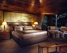 Asian Bedroom Treehouse Bedrooms Design, Pictures, Remodel, Decor and Ideas - pa. - Erica J. Asian Inspired Decor, Asian Decor, Dream Bedroom, Home Bedroom, Bedroom Ideas, Master Bedrooms, Master Suite, Bedroom Designs, Bedroom Inspiration