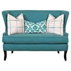 Stephanie Loveseat - Showcasing a flared wingback silhouette and teal upholstery, this sophisticated loveseat brings a pop of color to your living room seating group or den decor. Living Room Seating, My Living Room, Living Room Decor, Dining Room, Dining Sets, Den Decor, Home Decor, House Of Turquoise, Ideias Diy