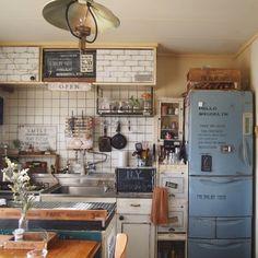 reenaさんの、キッチン,団地,冷蔵庫リメイク,団地リノベーション,めざせN.Yブルックリン,団地DIY,冷蔵庫の色にも飽き飽き,のお部屋写真