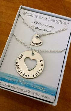 Mother and Daughter Necklace, My Daughter Holds My Heart, Personalized Necklace, Mom Jewelry, Matching Necklaces on Etsy, $24.95