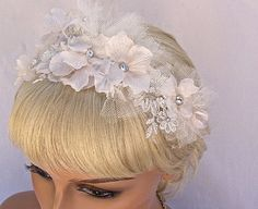 Gorgeous Vintage Inspired Bridal Headpiece In Pale Blush Tinted Ivory With Lace & Crystals-$122.00 #agoddessdivine #weddings #bridalheadpiece #bridalheadband #blush #ivory #bridal #vintage #lace