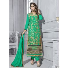 New #Embroidery #Work Green #Salwar #Kameez  shop now--->> http://goo.gl/hxfUKr
