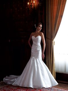 Spring 2013 David Tutera for Mon Cheri strapless crystal organza mermaid #wedding dress
