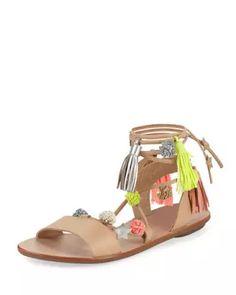 Suze Pompom Ankle-Wrap Sandal