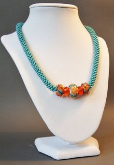 Turquoise Necklace Orange Necklace Sterling by JasmineTeaDesigns, $145.00