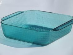 80s vintage Pyrex square baking pan, clear aqua teal green basket weave