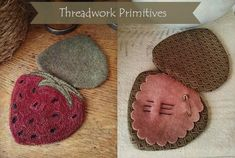 Primitive Punch Needle Pattern - Strawberry Needlebook with Weaver's Cloth Included Needle Case, Needle Book, Wool Embroidery, Wool Applique, Weavers Cloth, Punch Needle Patterns, Vintage Sewing Machines, Penny Rugs, Sewing Accessories