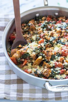 Skillet Tomato Casserole with White Beans and Parmesan Croutons. An easy, healthy one-pan meal your whole family will love