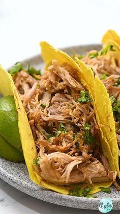 Instant Pot Carnitas Recipe, Food Videos, Recipe Videos, One Pan Meals, Pressure Cooker Recipes, Food Plating, Pulled Pork, Pork Recipes
