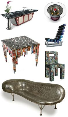 Furniture art from recycled elements is often strikingly beautiful. Many modern and contemporary recycled furniture designs are now made using reclaimed or recycled wood, paper or metal. Most interesting about this functional artwork are the combination of original elements that give retired materials a fresh and appealing look their second time as old-but-new furniture designs.