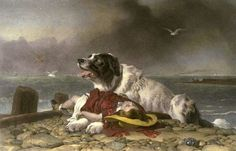 athousandwinds:    Saved, oil on canvas by Edwin Henry Landseer, 1802-1873, British artist and sculptor. He was known for his paintings of animals and horses, dogs and deer in particular.  Landseer was the sculptor for the famous lions in Trafalgar Square in London. He was also the painter of Monarch of the Glen used as an illustration for Sir Walter Scott's Lady of the Lake in the 1965 edition by publishers Allyn and Bacon of America.