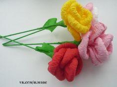 Como hacer ramo de rosas con papel crepe-1