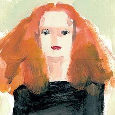 Donald Robertson's Portrait of Grace Coddington. Grace Coddington is a true one of a kind: from her signature flame-colored hair Grace Coddington, Vogue Uk, Donald Robertson, Look Older, No Photoshop, Creative Director, Fashion Art, Drawing Fashion, Style Fashion