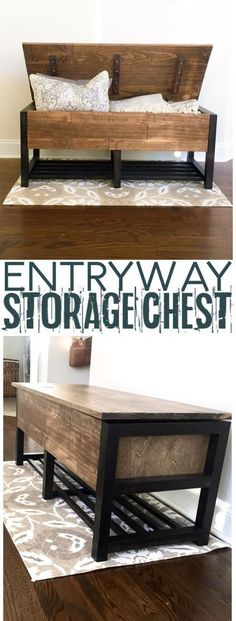 Easy Carpentry Projects - Entryway Storage Chest - DIY HOME Woodworking plans Easy Carpentry Projects - Get A Lifetime Of Project Ideas and Inspiration! Woodworking Projects Diy, Popular Woodworking, Woodworking Furniture, Diy Wood Projects, Furniture Projects, Furniture Plans, Home Projects, Diy Furniture, Woodworking Plans