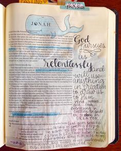 Jonah always makes me want to sigh and shake my head, as if I've never intentionally run from something God has called me to. The thing I love about the book of Jonah, though, is that it is a beautiful picture of God's unrelenting love and mercy for us. Today in the #SRTlent study, we saw that once He has called us, He will pursue us until we obey that calling. His love for us is as overwhelming as a raging sea, and His desire is to bless us by using us as a blessing to others. ❤️ Jonah Bible, Book Of Jonah, The Book, New Bible, Bible Art, Old Testament Bible, Illustrated Faith, God Pictures, Daughter Of God