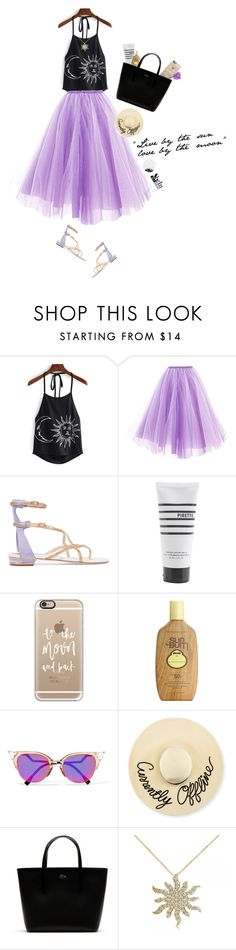 """live by the sun & love by the moon"" by pineapplesandpomegranates ❤ liked on Polyvore featuring René Caovilla, Pirette, Casetify, Sun Bum, Fendi, Eugenia Kim, Lacoste, Allurez and Lollipop"