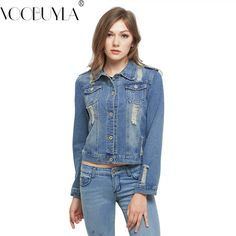 3eaf1b269e1 VooBuyLa Brand Plus Size 5XL 6XL Autumn Oversize Denim Jacket Women 2017  Slim Cotton Light Washed