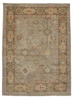 Modern Turkish Oushak Rug with Transitional Style | From a unique collection of antique and modern turkish rugs at https://www.1stdibs.com/furniture/rugs-carpets/turkish-rugs/