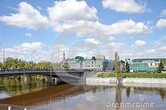 Omsk, Russia - May 9: Om River in spring, the city of Omsk, Siberia, Russia