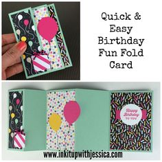 Jessica's Quick & Easy Birthday Fun Fold Card with video: Sunburst Sayings, It's My Party dsp stack & twine, Balloon Bouquet Punch, & more - all from Stampin' Up! Diy Birthday Card, Handmade Birthday Cards, Happy Birthday Cards, Birthday Fun, Greeting Cards Handmade, Birthday Card Sayings, Birthday Balloons, Birthday Gifts, Card Making Tutorials