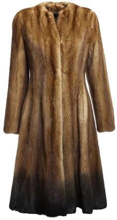 Dyed Mink Fur Coat with Natural Beige Chinchilla Fur Pockets | Fur