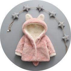 Baby Girls Winter Jackets Warm Faux Fur Fleece Coat Children Jacket Rabbit Ear Hooded Outerwear Kids Jacket for Girls Clothing Kids Winter Jackets, Girls Winter Coats, Kids Coats, Winter Clothes, Winter Kids, Winter Outfits, Summer Outfits, Baby Outfits Newborn, Toddler Outfits