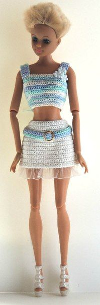 Top & Skirt - (no pattern) # Crochet Barbie Patterns, Crochet Barbie Clothes, Doll Sewing Patterns, Clothing Patterns, Barbie Dress, Barbie Doll, Monster High Doll Clothes, American Girl Crochet, Crochet Costumes