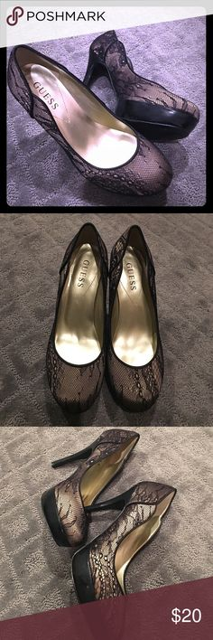 Guess Black and Nude Lace Pump Shoes - 6 This pair is in good condition. Only worn out a couple times (see pics)! Heels are approx 5in tall Guess Shoes Heels