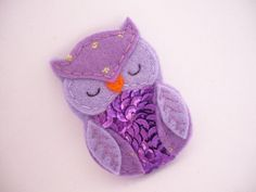 Felt Owl Brooch Purple Owl Brooch owl with sequins and by ynelcas, $9.00
