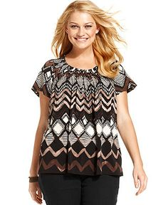 Style Plus Size Top, Short Sleeve Printed Pleated - Plus Size Tops - Plus Sizes - Macy's