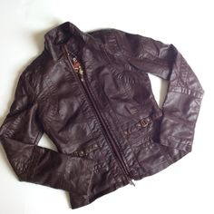 Brown faux leather jacket Brown faux leather jacket, excellent condition Big chill vintage Jackets & Coats