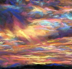 GOLDEN RAYS - 6 x 6 sunset pastel by Susan Roden - SOLD, painting by artist Susan Roden