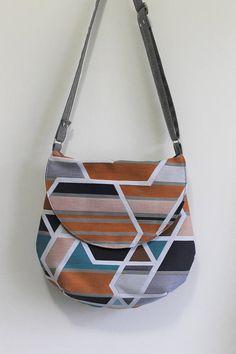 Upcycled Cross Body Saddle Bag in Geometric Print by bakeappledesigns, Shoulder Bag, Messenger Bag, Purse, Navy, Orange, Gray, Womens, Gift