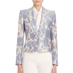 Escada Floral-Print Blazer (37.035 CZK) ❤ liked on Polyvore featuring outerwear, jackets, blazers, apparel & accessories, celeste, floral blazer, shawl jacket, floral blazer jacket, escada blazer and floral print jacket