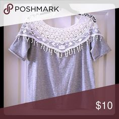 "Crochet Trim Oversized T-Shirt Like new. No flaws. Folded sleeves may need ironing to lay flat. Looks the same in the back. Chest - 40"" Waist - 38"" Sleeves - 11"" Length - 20"" Tops Tees - Short Sleeve"