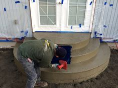 This Port Orchard project, consisting of stamped concrete steps and a patio, was poured and finished in January. That's right, January. Patio Stairs, Concrete Stairs, Patio Doors, Front Door Steps, Porch Steps, Diy Stamped Concrete, Decorative Concrete, Black Exterior Doors, Backyard Bbq Pit