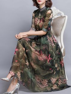 Midi dress green short sleeve casual floral printed holiday spring fall summer stand collar mid weight beach daytime a line non stretchy elegant polyester Daytime Dresses, Casual Summer Dresses, Trendy Dresses, Elegant Dresses, Women's Dresses, Vintage Dresses, Beautiful Dresses, Nice Dresses, Dress Outfits
