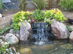 Small Waterfall Pond Landscaping For Backyard Decor Ideas 101 - DecOMG Small Backyard Ponds, Backyard Water Feature, Backyard Ideas, Garden Ponds, Water Garden, Garden Waterfall, Small Waterfall, Pond Landscaping, Landscaping With Rocks