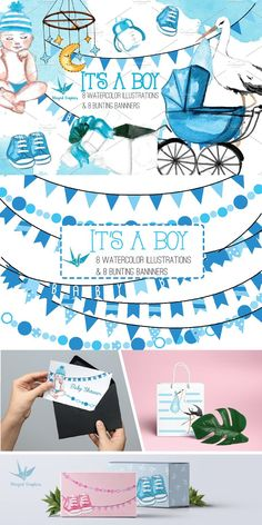 Baby Shower Cards, Bunting Banner, Blog Design, Handmade Baby, Watercolor Illustration, Mixed Media Art, Nursery Decor, Baby Boy, Branding