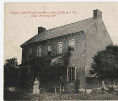 """Oldest Brick House in Kentucky, Built in 1782, Crab Orchard, Ky."" :: Ronald Morgan Postcard Collection"