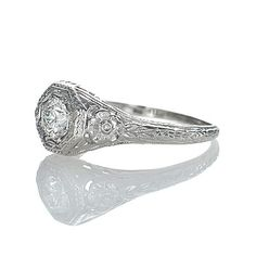 New York, NY Jewelry, engagement rings - Leigh Jay Nacht - Replica Art Deco Engagement Ring - 1265-02