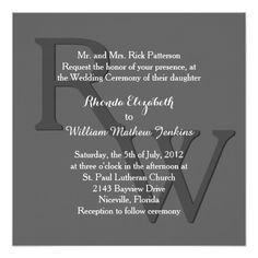 "Gray Modern Monogram Wedding Invitation 5.25"" Square Invitation Card"