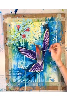 Colorful & eclectic artwork for the free spirited by CarissaWeberArt Bird Paintings On Canvas, Diy Canvas Art, Watercolor Paintings, Colorful Animal Paintings, Watercolor Portraits, Abstract Paintings, Watercolor Hummingbird, Watercolor Bird, Watercolor Animals