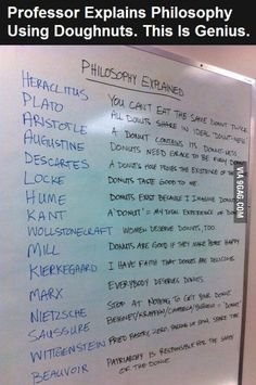 Professor explains philosophy using doughnuts - Lustig - Education Philosophy Memes, Life Philosophy, Philosophy Theories, History Of Philosophy, Philosophy Books, Birth Order Personality, Professor, Philosophical Quotes, The More You Know