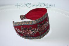 Dark Red Vintage Headband JINNY BEYER Quiltprints 100 % Cotton Fabric Flexible Women's fabric Headband Comfortable Hairband gift for mom di HairBandsDeLuxe su Etsy
