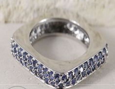 SIZE 6.5 Sterling Silver LAYAWAY Blue Quartz Square STACK 5.2g Ring .91in .1in #BandClusterEternity