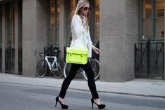 flashy neon green purse